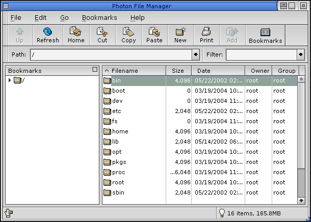 File manager in QNX 6.2.1 NC (Photon File Manager)