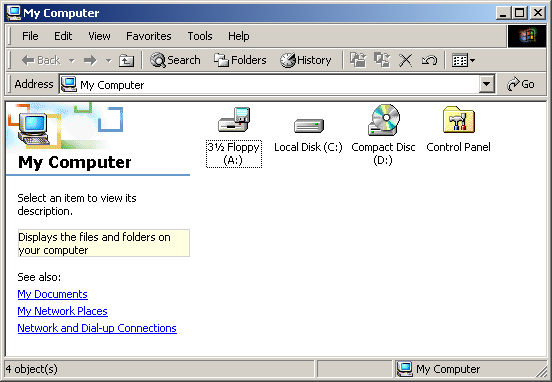 File manager in Windows 2000 Pro