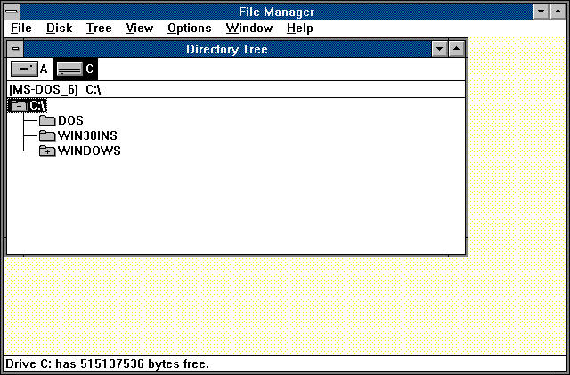 File manager in Windows 3.0