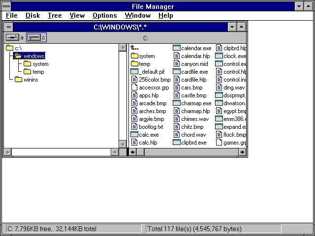 File manager in Windows 3.1