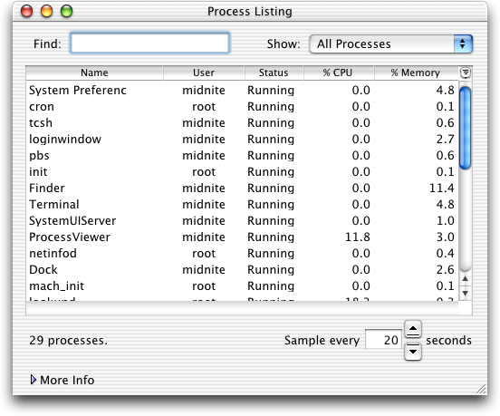 Task manager in Mac OS 10.1 (Process Listing)