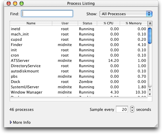 Task manager in Mac OS X Jaguar (Process Listing)