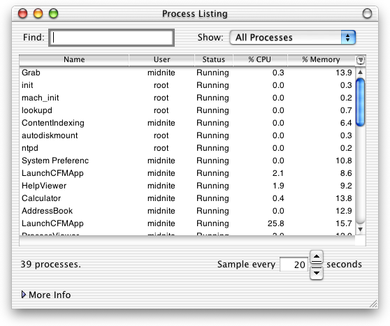 Task manager in Mac OS X DP 4 (Process Listing)