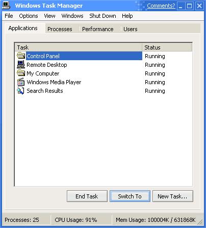 GUIdebook > Screenshots > Task manager