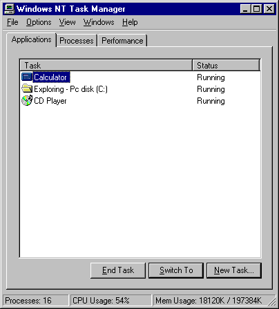 Task manager in Windows NT 4.0 Workstation (Windows NT Task Manager)