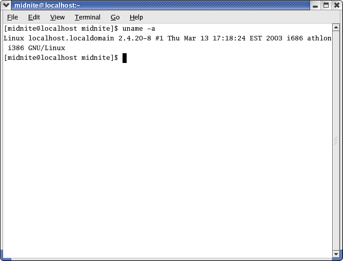 Command prompt in GNOME 2.2.0 in RedHat 9 (Terminal)