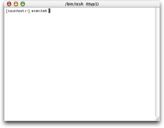 Command prompt in Mac OS 10.0.4 (Terminal)