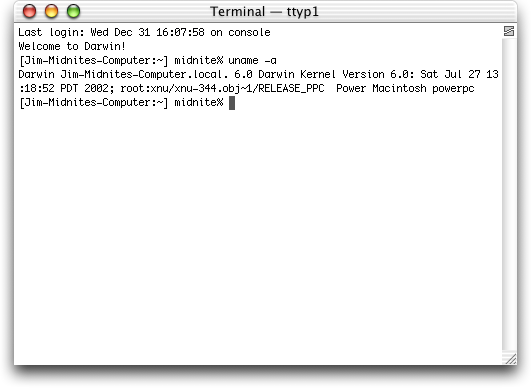 Command prompt in Mac OS X Jaguar (Terminal)