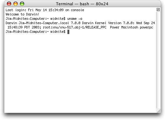 Command prompt in Mac OS X Panther (Terminal)