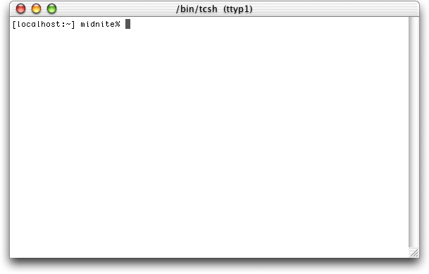 Command prompt in Mac OS X Public Beta (Terminal)