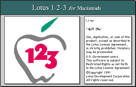 Splash in Lotus 1-2-3 for Macintosh