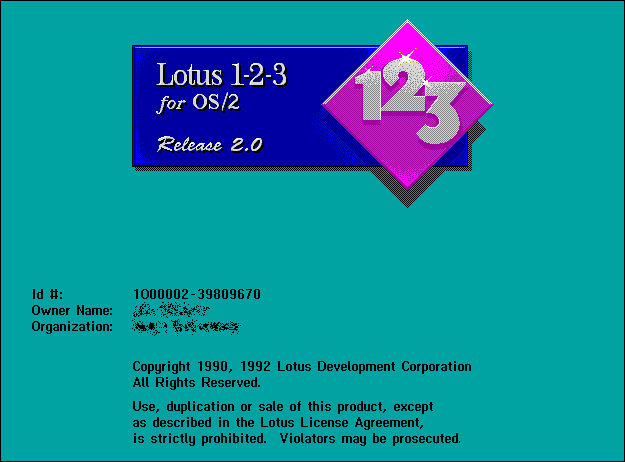 Splash in Lotus 1-2-3 for OS/2 Release 2.0