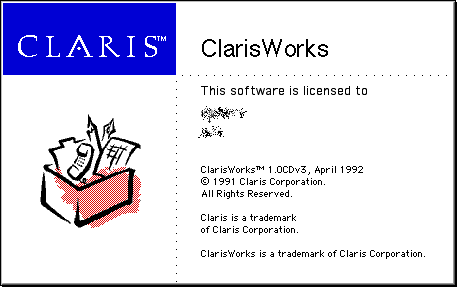 Splash in ClarisWorks 1.0