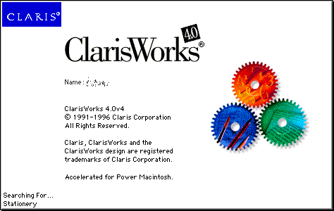 Splash in ClarisWorks 4.0
