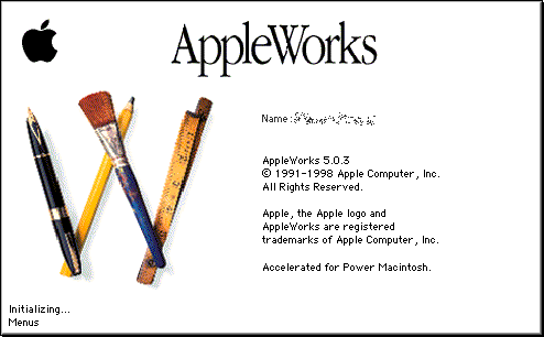 Splash in AppleWorks 5.0