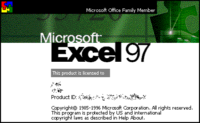 Splash in Microsoft Excel 97