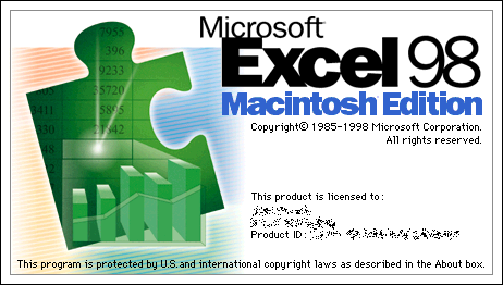 Splash in Microsoft Excel 98