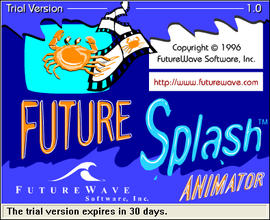 Splash in Future Splash Animator 1.0