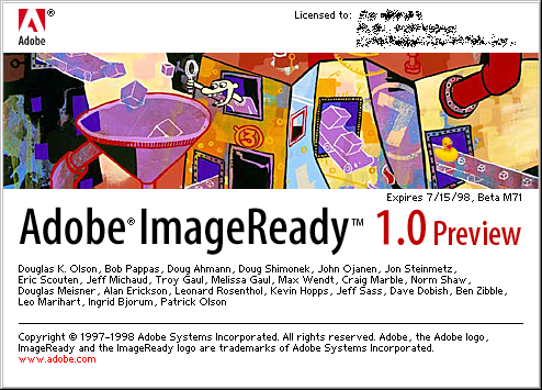 Splash in Adobe ImageReady 1.0