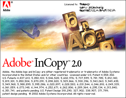 Splash in Adobe InCopy 2.0