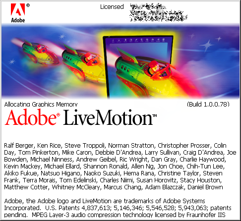 Splash in Adobe LiveMotion 1.0