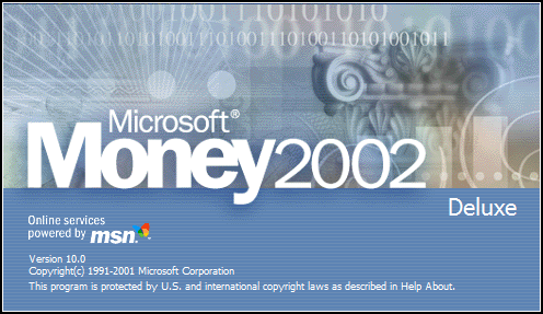 Splash in Microsoft Money 2002