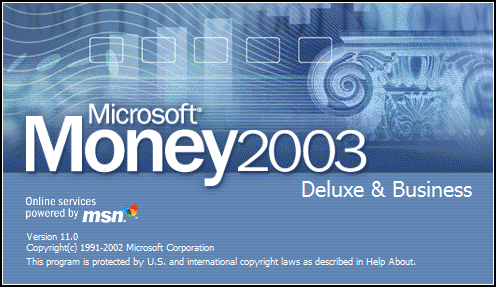 Splash in Microsoft Money 2003