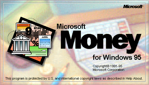 Splash in Microsoft Money for Windows 95