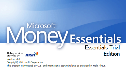 Splash in Microsoft Money Essentials 2007