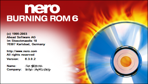 Splash in Nero Burning ROM 6.3