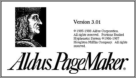 Splash in Aldus PageMaker 3.0