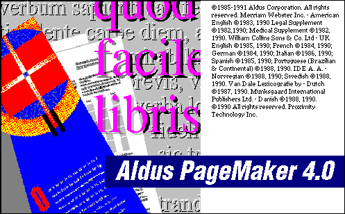 Splash in Aldus PageMaker 4.0