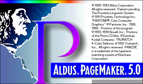Splash in Aldus PageMaker 5.0