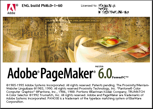Splash in Adobe PageMaker 6.0