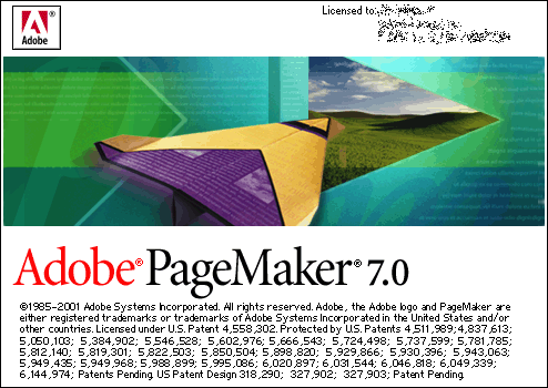 Splash in Adobe PageMaker 7.0