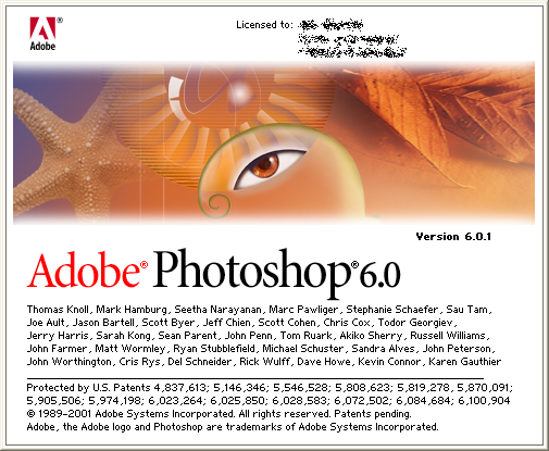 Adobe photoshop 6.0 , version 6.0.1