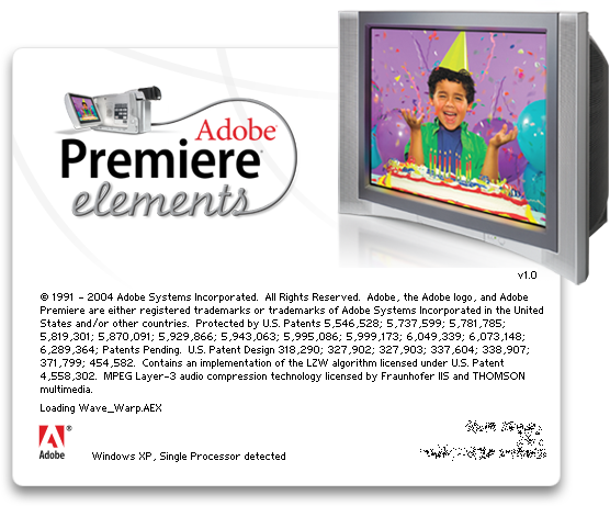 Splash in Adobe Premiere Elements 1.0