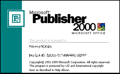 Splash in Microsoft Publisher 2000