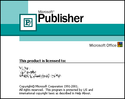 Splash in Microsoft Publisher 2002