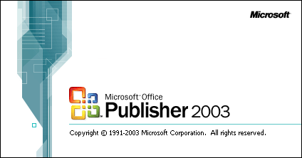 Splash in Microsoft Publisher 2003