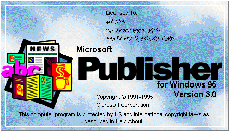 Splash in Microsoft Publisher for Windows 95