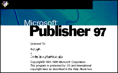 Splash in Microsoft Publisher 97