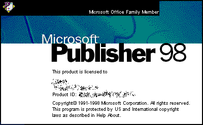 Splash in Microsoft Publisher 98