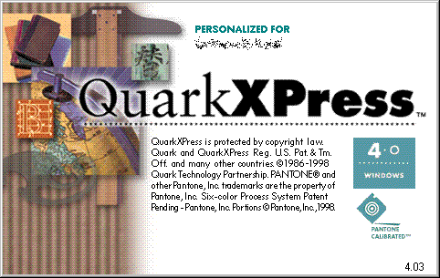 Splash in Quark XPress 4.0
