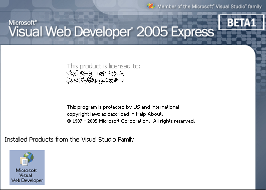 Splash in Visual Web Developer 2005 Express