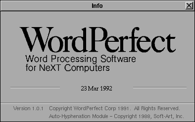 Splash in WordPerfect 1.0