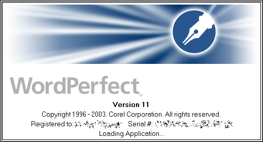 Splash in WordPerfect 11