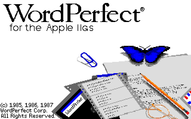 Splash in WordPerfect 2.0